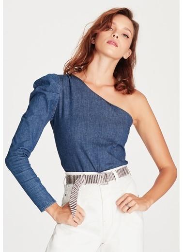 Mavi Tek Omuz Bluz Mavi
